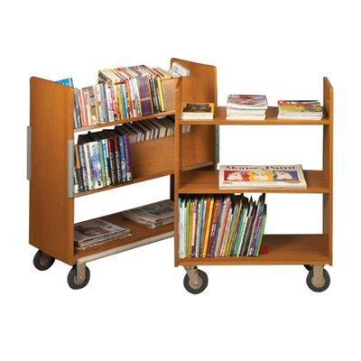 Chariots à livres compacts à double face en bois massif