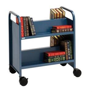 Chariot à livres double face Bretford avec quatre étagères en pente