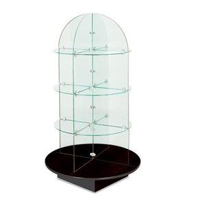 Présentoir rotatif de verre, base noire