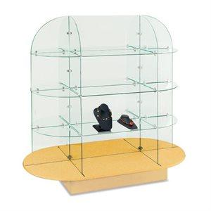 Présentoir de verre, Ovale, base noire