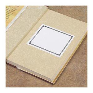 Ex-libris à dos adhésif avec bordure à points décoratifs