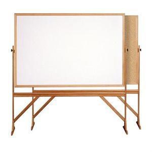 Tableau réversible, structure de bois, Blanc / Blanc